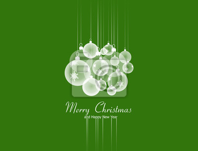 Christmas and New Year greeting card with hanging Xmas balls