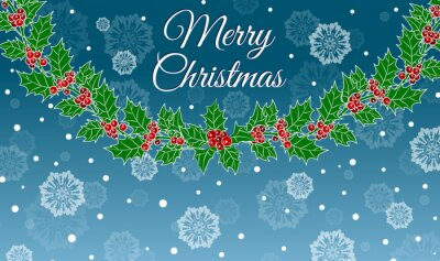 """Christmas background with garland of Holly, snowflakes and the words """"Merry Christmas"""""""