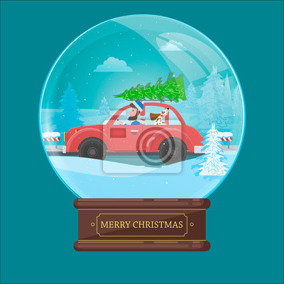 Christmas ball with a car, carrying a Christmas tree, man and dog. Winter scene. Vector