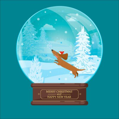 Christmas ball with a Dachshund chasing a snowflake. Winter scene. Vector