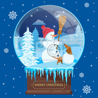 Christmas ball with winter landscape, snowman and a Dachshund. Vector