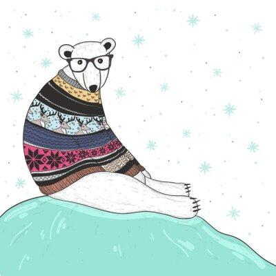 Canvas print Christmas card with cute hipster polar bear. Bear with fair isle