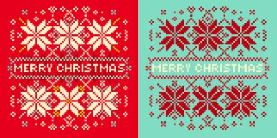 Christmas card with knitted snowflakes Seasonal greeting card wi