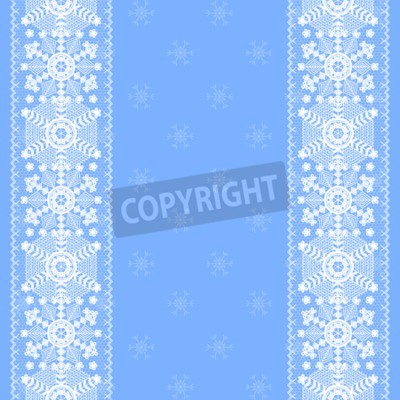 Christmas card with lace snowflakes pattern border on blue background