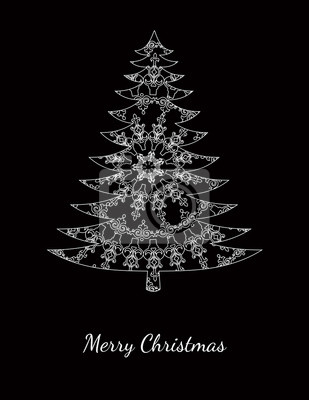 Christmas card with pattern on black
