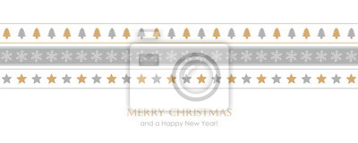 christmas card with pattern tree star and snowflake border vector illustration EPS10