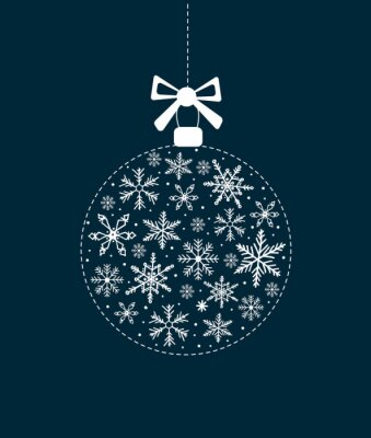 Christmas card with white snowflakes and letters on a dark blue background. Greeting card merry Christmas, New Year. Vector illustration.