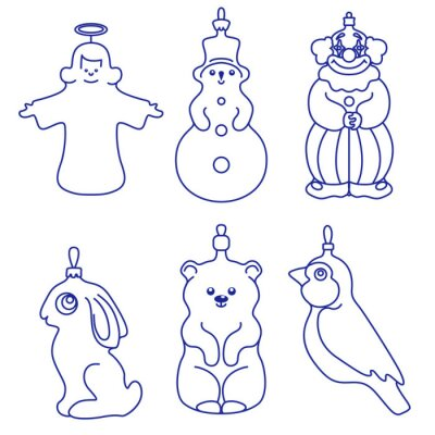 Christmas figures in the form of animals and people: angel, snowman, clown, Bunny, bear, bird. Vector