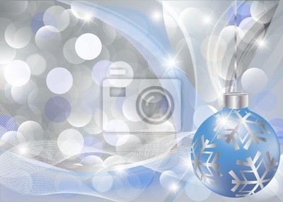Christmas greeting card with blue-silver ball. vector