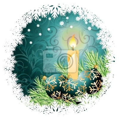 Christmas greeting card with candle and balls. vector