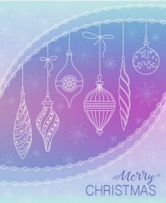 Christmas greeting card with Christmas decorations on purple background. Vector