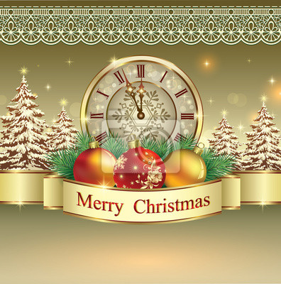 Christmas greeting card with clock and balls