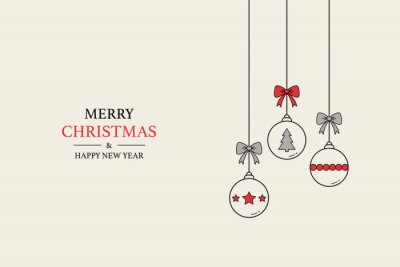 Christmas greeting card with hanging balls and wishes. Xmas concept. Vector