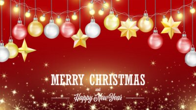 Christmas greeting card with hanging electric bulb garland. Red background poster with golden metallic stars, fir-tree balls decoration. Festive poster for sending best wishes, celebration parties.