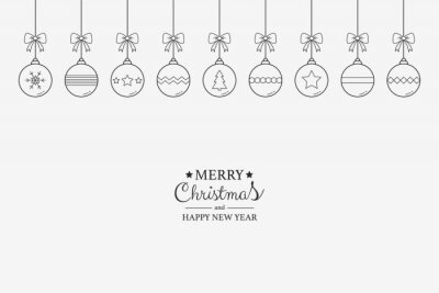 Christmas greeting card with hanging festive balls and wishes. Xmas decorations. Vector