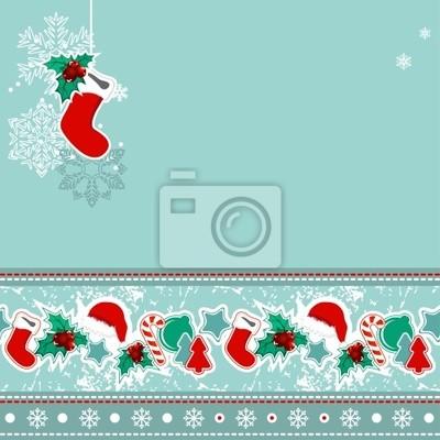 Christmas greeting card with hanging Santa sock