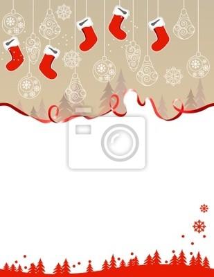 Christmas greeting card with hanging santa socks and ribbon