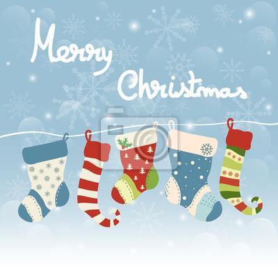 Christmas greeting card with hanging socks