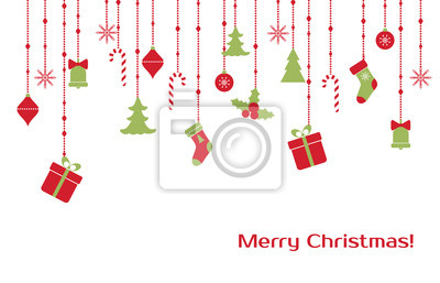 Christmas greeting card with hanging toys