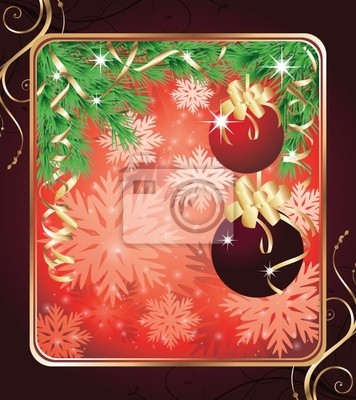 Christmas greeting card with two red balls. vector illustration