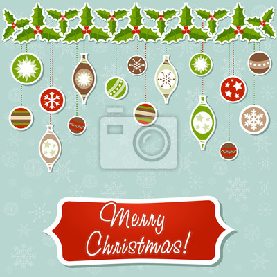 Christmas greeting card with xmas toy garland