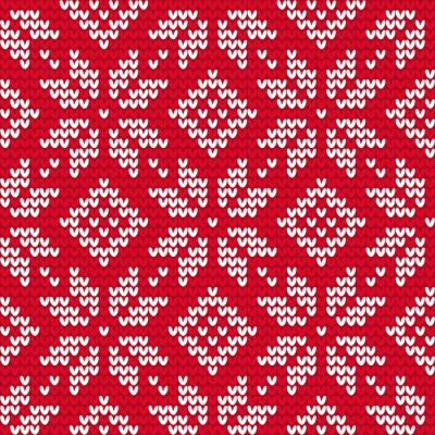 Canvas print Christmas knitted seamless pattern