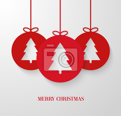 Christmas paper card with hanging toy.