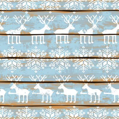 Canvas print Christmas seamless pattern with deers and snowflakes