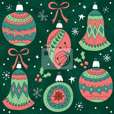 Christmas seamless pattern with pine tree branches