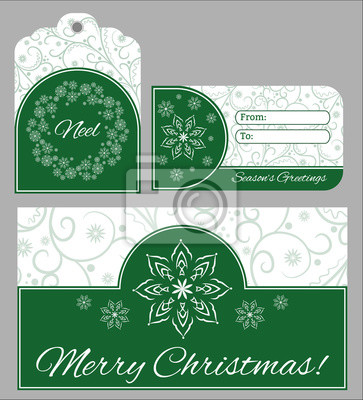 Canvas print Christmas set of cards and stickers for printing