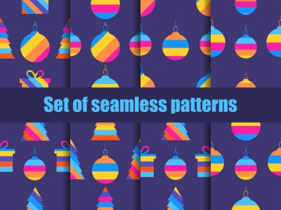 Christmas set of seamless pattern with colored Christmas balls. Greeting card with hanging striped balls. Vector illustration