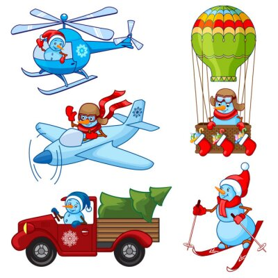 Christmas set snowmen: ski, plane, helicopter, truck, hot air ba