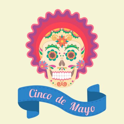 Canvas print Cinco de Mayo, painted skull in national traditions of Mexico
