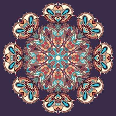 Canvas print Circle lace ornament, round ornamental geometric doily pattern