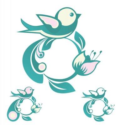 Circular ornament with a bird, leaf and flower. Logo, emblem. Vector illustration