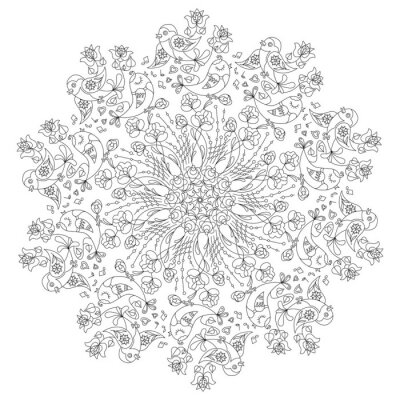 Canvas print Circular pattern with birds and flowers in Doodle style