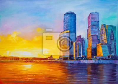 City business buildings evening landscape, oil painting
