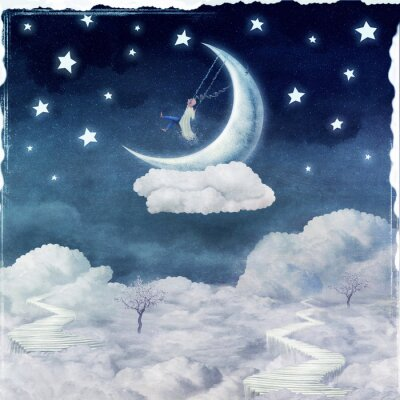Canvas print City of children on  fantastic clouds in the sky