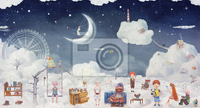 Canvas print City of children on the fantastic clouds in the sky