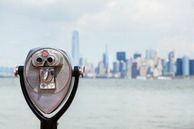 Canvas print Cityscape of New York with Binocular