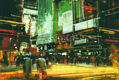 Canvas print cityscape painting,crowds of people at a busy crossing street