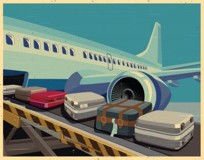 Canvas print civilian aircraft and baggage old poster