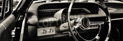 Canvas print Classic car photographed from driver side