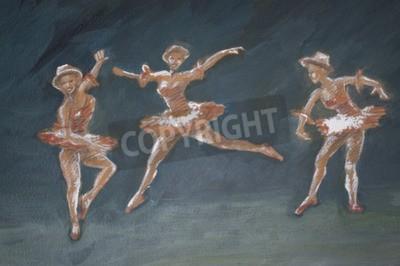Canvas print classic female ballet dancers art illustration