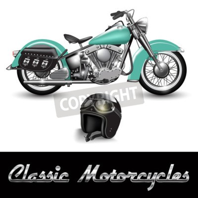 Canvas print Classic motorcycle and helmet with goggles. Vector illustration