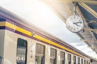 Canvas print Classic urban analog clock in train station terminal. Concept photo of time, appointment, deadline, meeting, business, travel and schedule..