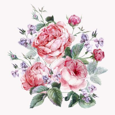 Canvas print Classical vintage floral greeting card, watercolor bouquet of