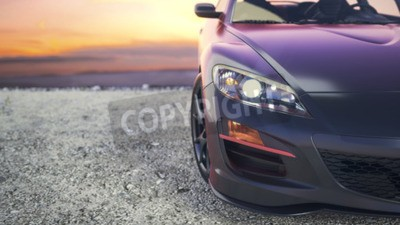 Canvas print Close-luxury cars as the sun sets behind the scenes.