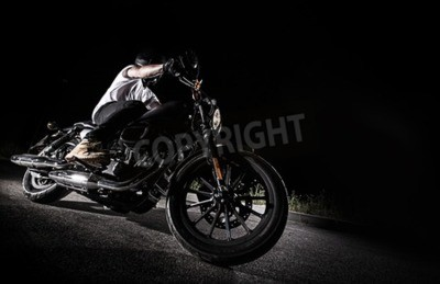 Canvas print Close up of a high power motorcycle at night, chopper.