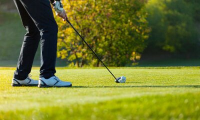 Canvas print Close-up of man playing golf on green course